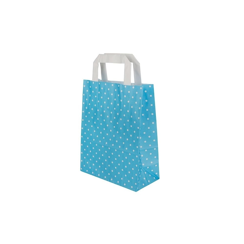 Kraftpapier-Tragetaschen S, 18 x 8 x 22 cm, hellblau weiß gepunktet