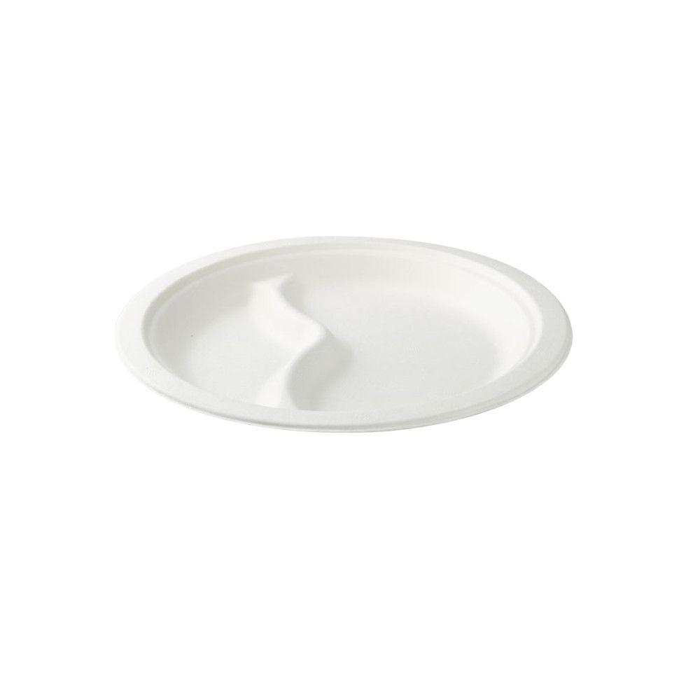 Zuckerrohr-Menü-Teller Ø 22 cm, 2 Kammern, rund
