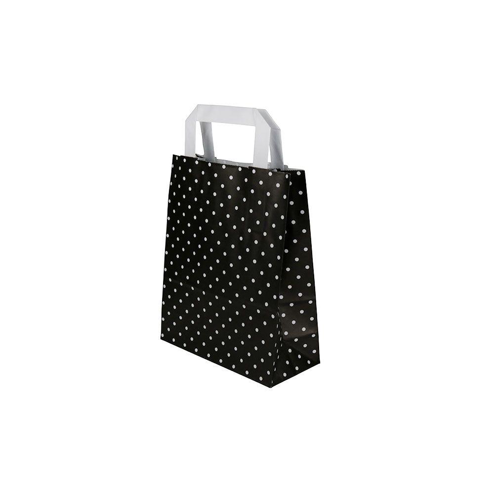 Kraftpapier-Tragetaschen S, 18 x 8 x 22 cm, schwarz weiß gepunktet