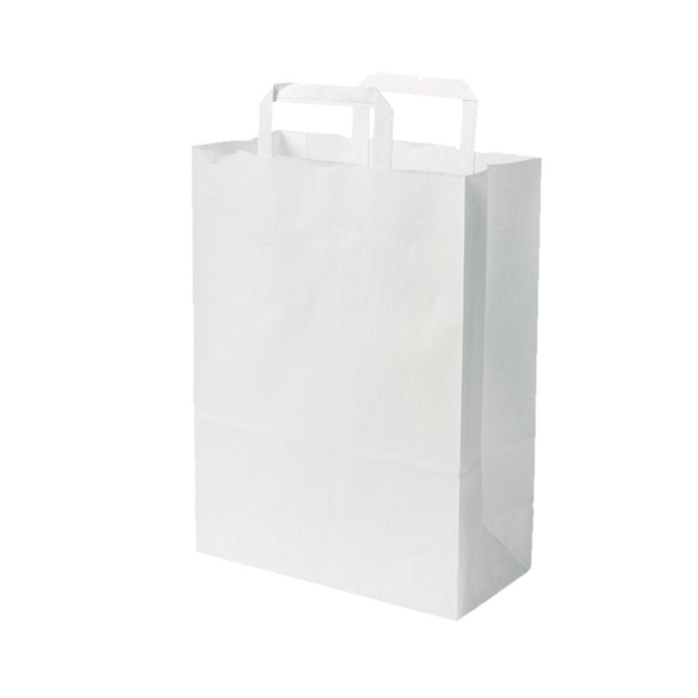 Kraftpapier-Tragetaschen L, 26 x 14 x 30 cm, weiß